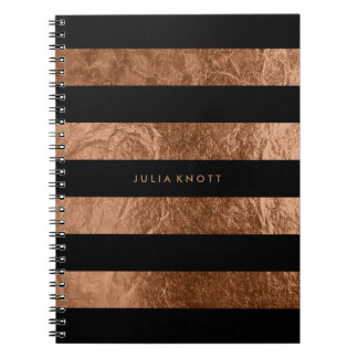 PixDezines faux copper foil/black stripes Spiral Notebook