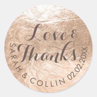 PixDezines faux foil/champagne/thanks/DIY text Round Sticker