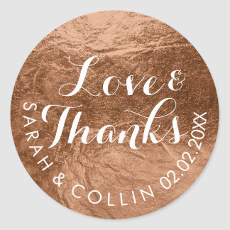 PixDezines faux foil/copper/thanks/DIY text Round Sticker