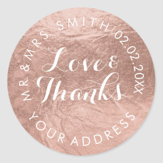 PixDezines faux foil/Rose Gold/thanks/DIY text Classic Round Sticker