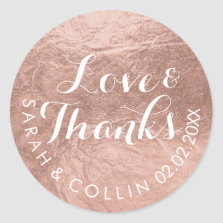 PixDezines faux foil/Rose Gold/thanks/DIY text Round Sticker