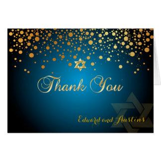 PixDezines Faux Gold  Confetti, Mitzvah Thank You Card