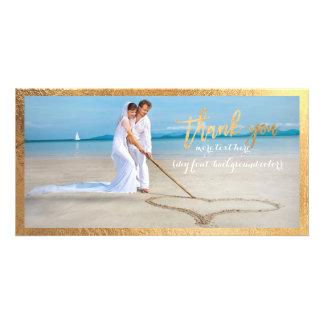 PixDezines faux gold frame/thank you wedding photo Personalised Photo Card
