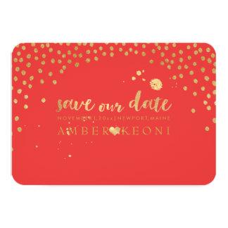 PixDezines Faux Gold Heart/Save Date/DIY Color 9 Cm X 13 Cm Invitation Card