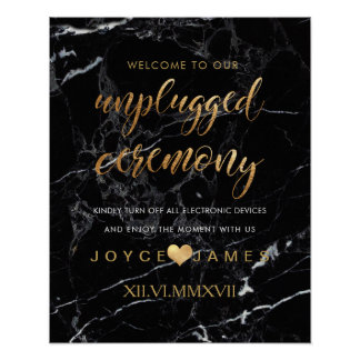 PixDezines Faux Gold/MARBLE #UNPLUGGED CEREMONY Poster