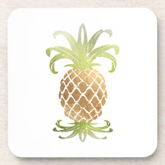PixDezines Faux Gold Pineapple/DIY background Coaster