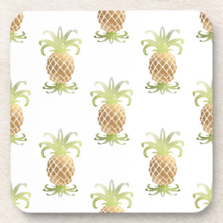 PixDezines Faux Gold Pineapples/DIY background Beverage Coasters