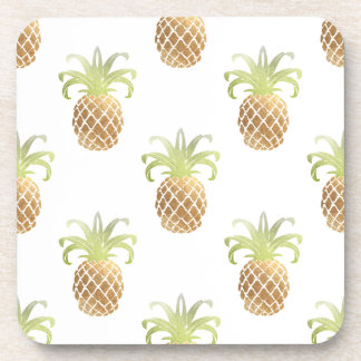 PixDezines Faux Gold Pineapples/DIY background Coaster