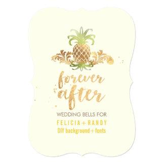 PixDezines Faux Gold Royal Hawaiian Pineapples 13 Cm X 18 Cm Invitation Card