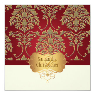PixDezines faux gold/silver damask 13 Cm X 13 Cm Square Invitation Card