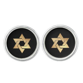 PixDezines Faux Gold Star of David/DIY background Cufflinks