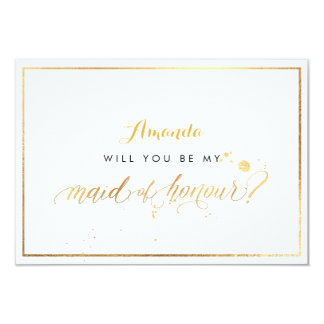 PixDezines Faux Gold Will You Be Maid of Honour Card