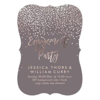 PixDezines Faux Rose Gold Confetti Engagement 13 Cm X 18 Cm Invitation Card