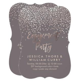 PixDezines Faux Rose Gold Confetti Engagement Card