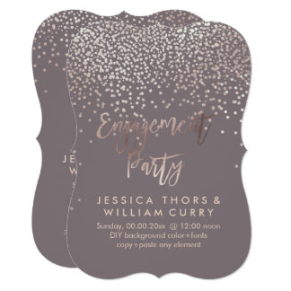 PixDezines Faux Rose Gold Confetti Engagement Card