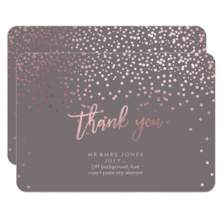 PixDezines Faux Rose Gold Confetti Thank You Card