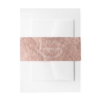 PixDezines Faux Rose Gold Foil Invitation Belly Band