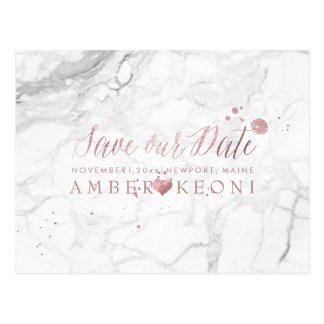 PixDezines Faux Rose Gold/Marble/Save our Date Postcard