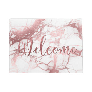 PixDezines FAUX ROSE GOLD MARBLE, WELCOME Doormat