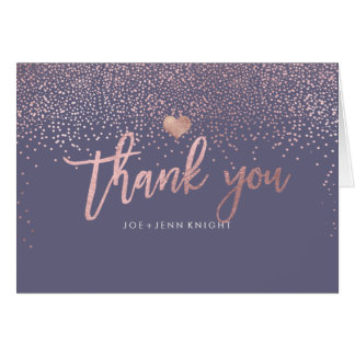 PixDezines Faux Rose Gold Speckles/Thank You Card