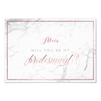 PixDezines Faux Rose Gold Will You Be..Bridesmaid Card
