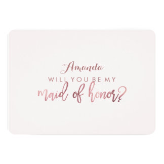 PixDezines Faux Rose Gold Will You Be .. Maid 13 Cm X 18 Cm Invitation Card