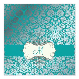 PixDezines faux silver/DIY background/lemon 13 Cm X 13 Cm Square Invitation Card