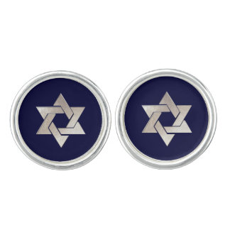 PixDezines Faux Silver Star of David/DIY color Cuff Links