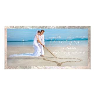 PixDezines faux silver/thank you wedding photo Card