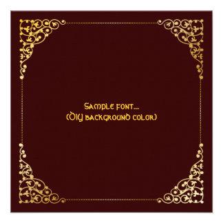 PixDezines filigree frame/faux gold/diy colors Custom Announcement