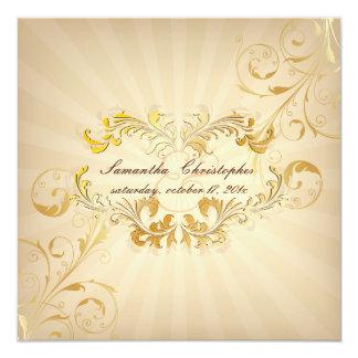 PixDezines Filigree+Gold+Vintage 13 Cm X 13 Cm Square Invitation Card