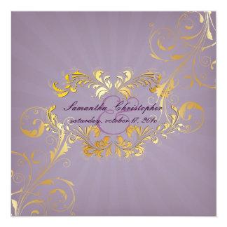 PixDezines Filigree+Lavender+Vintage 13 Cm X 13 Cm Square Invitation Card