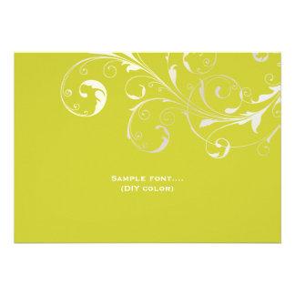 PixDezines filigree swirls/diy colors, chartreuse Invitations