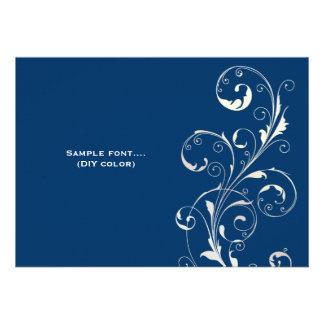 PixDezines filigree swirls/diy colors, navy Custom Invite