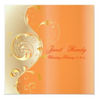 PixDezines Filigree+swirls/gold+orange/diy events 13 Cm X 13 Cm Square Invitation Card