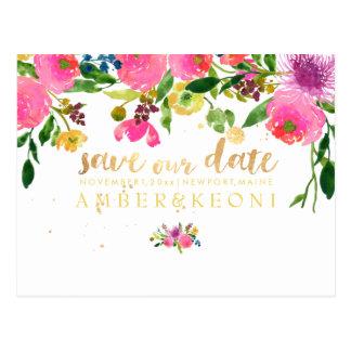 PixDezines floral/save the date/photo Postcard