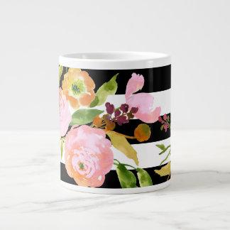 PixDezines floral/watercolor/ranunculus/stripes Jumbo Mug