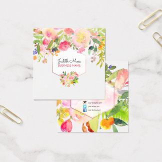 PixDezines Floral Watercolor/Spring Bouquet Square Business Card