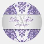 PixDezines florentius damask/purple+silver Round Sticker