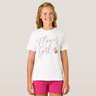 PixDezines Flower Girl/Faux Rose Gold ModernScript T-Shirt