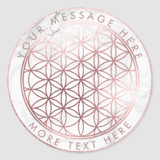 PixDezines FLOWER OF LIFE FAUX ROSE GOLD+MARBLE Classic Round Sticker