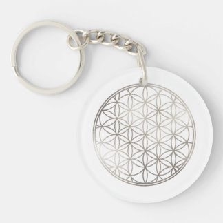 PixDezines Flower of Life / Faux Silver Key Ring