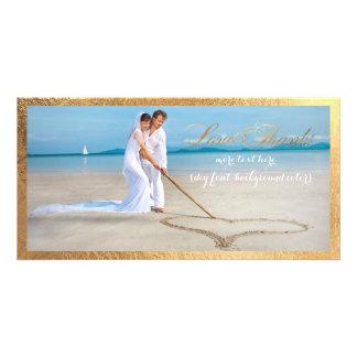 PixDezines gold frame/thank you wedding photo Personalised Photo Card