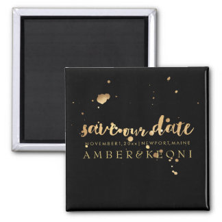 PixDezines gold ink splatters save our date Magnet