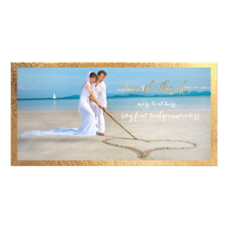 PixDezines Gold script/Love/Thanks/wedding photo Customised Photo Card