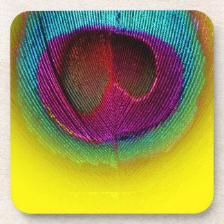 PixDezines Gorgeous Peacock eye/teal+pink Coaster