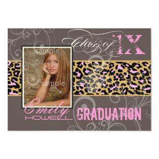 PixDezines Graduation/cheetah, neon pink Card