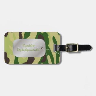 PixDezines green camo+dogtag Luggage Tag