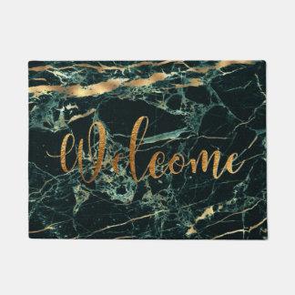 PixDezines GREEN MARBLE FAUX GOLD VEINS, WELCOME Doormat
