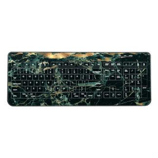 PixDezines GREEN MARBLE FAUX GOLD VEINS Wireless Keyboard